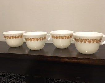 Vintage PYREX Butterfly Gold Mugs, set of 4