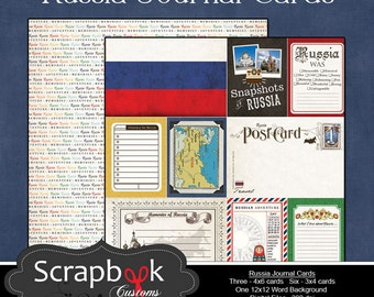 Russia Journal Cards. Digital Scrapbooking. Project Life. Instant Download.