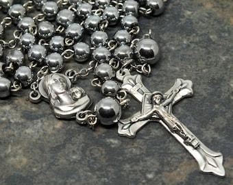 Silver Hematite Rosary, 5 Decade Rosary, Silver Rosary, Men's Rosary, Catholic Rosary, Prayer Beads