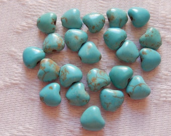 14  Turquoise Blue Puffed Heart Howlite Turkey Turquoise Beads  11mm