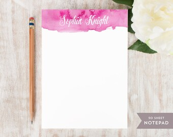 Personalized Notepad - WATERCOLOR SCRIPT - Stationery / Stationary Notepad - vibrant colorful watercolor script womens girls note pad