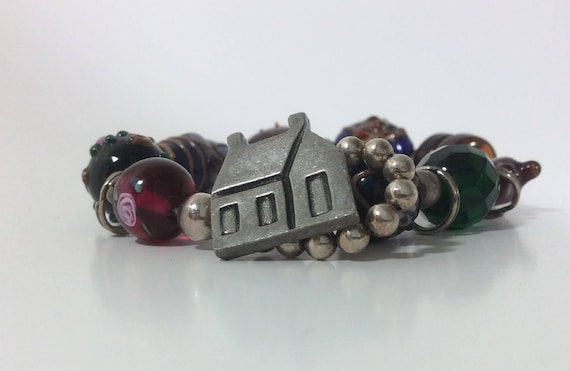 1986 Danforth pewter lampwork art glass bracelet from 1986, beautiful Danforth bracelet with house toggle clasp, vintage gift for her