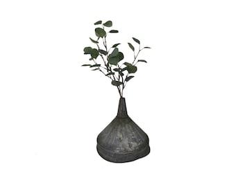 Antique Large Rustic Metal Funnel Salvage Stem Vase Vessel
