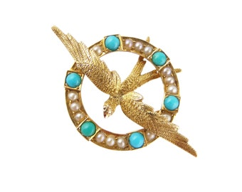 Antique Swallow Brooch, Victorian Turquoise Seed Pearl Brooch, In 15ct Gold, Antique Pearl Turquoise Brooch, Bird Brooch, 15ct Gold Brooch