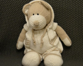 Knitted Beige & White Teddy