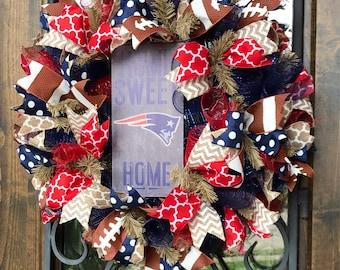 "New England Patriots, Football Team Wreath, 24"" XL"