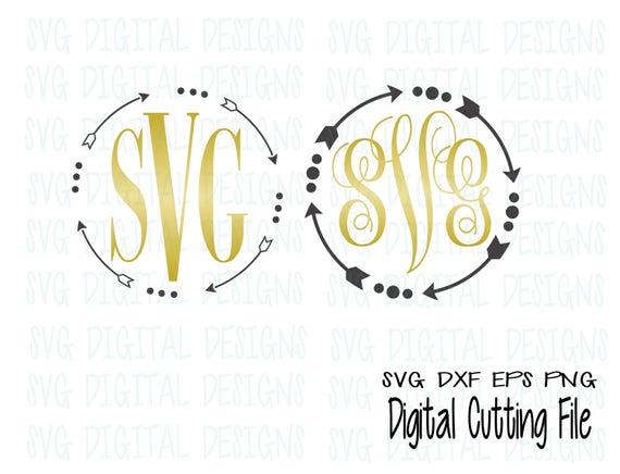 Arrow Monogram Svg Files Cute Arrow Svg Digital Design