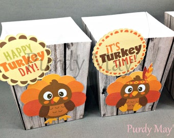 Thanksgiving Popcorn Boxes, Thanksgiving Treat Boxes, Thanksgiving Party Favor Boxes, Turkey Popcorn Boxes, Thanksgiving Favor Boxes
