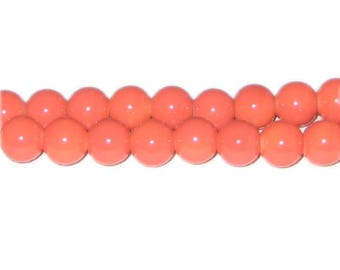 10mm Deep Orange Team and School Glass Bead, approx. 22 beads