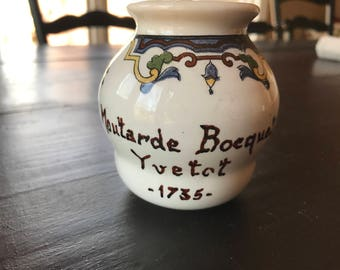 Vintage French Moutarde Bocquet Yvetot 1735 by Digoin & Sarreguemines