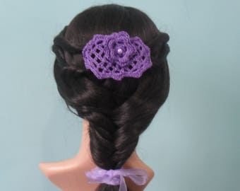 Purple Crochet Bridal Lacy Headpiece/Fascinator