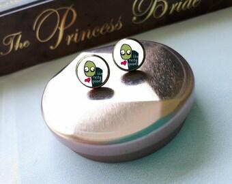 Salad Fingers I like rusty spoons Stud Earrings, Salad Fingers jewelry, Salad Finger Earrings, Geek Earrings, Nerd Jewelry, Nerd Earrings