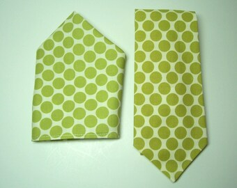Lime Green Polka Dot Necktie and Pocket Square Set