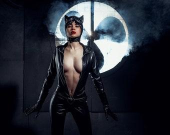 Catwoman cosplay costume, DC comics, Halloween cat woman costume