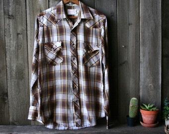 Mens Vintage Shirt 70s Wrangler Brown Plaid Mens long Sleve Shirt Vintage From Nowvintage on Etsy