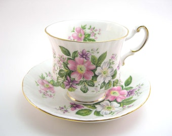 """Paragon Tea cup and saucer set, Flower festival """"A"""" , English tea cup set, White tea cup with pink roses."""