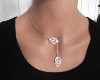 Silver leaf Necklace, Sterling Silver necklace, Leaf Jewelry - Cute, Dainty, mother, mom, teen, Birthday gift