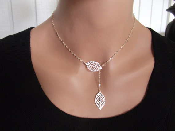 Silver leaf necklace sterling silver necklace leaf jewelry like this item mozeypictures Images