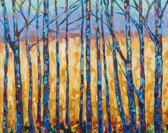 ORIGINAL Painting: Traverse City Field and Forest, Tree Study, Branches, Golden Field,