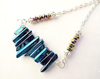 Titanium Necklace, Handmade Jewelry, Titanium Quartz, Electroplate Quartz, Quartz Necklace, Crystal Points, Silver Plated, UK Seller