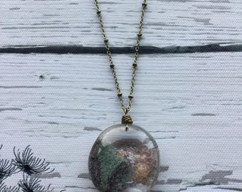 Lodolite Quartz necklace, scenic Quartz, garden Quartz