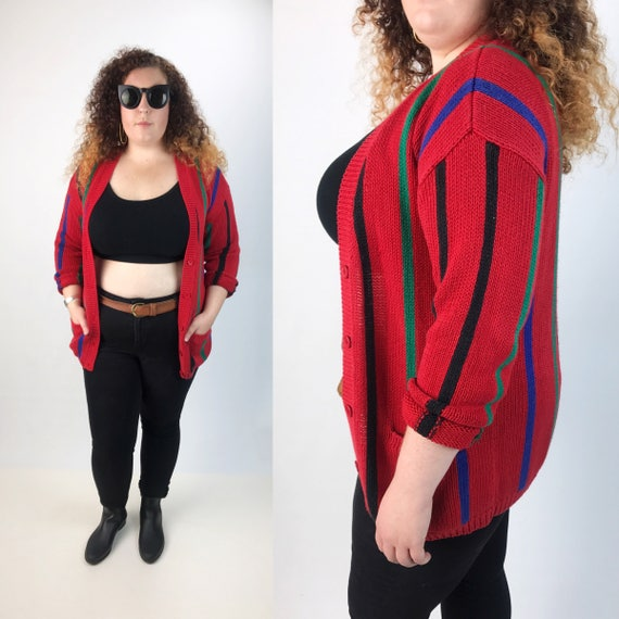 80's Red Vertical Striped Slouchy Acrylic Cardigan Medium Unisex - Striped V Neck Grandpa Cardigan With Pockets - Rainbow Striped VTG Knit