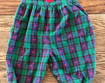 Vintage Green Plaid Romper with Red Apples