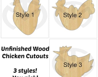 Unfinished Wood Chicken Shape Laser Cutout, Wreath Accent, Ready to Paint and Personalize, Various Sizes, 3 styles