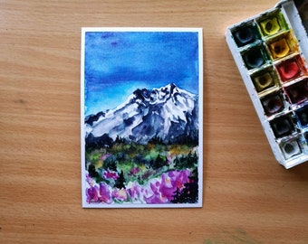 Mount St. Helens, Watercolor Print, Landscape Painting, Pacific Northwest, Evergreen Trees, Alpine Scenery, Cascade Mountain, Volcano Art