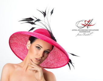 "Royal ascot/Women's hat with broad brim ""Bolivian fuchsia""/Hat for horse racing/Ascot hat/Sinamay hat/Hat for holidays/Royal ascot hats"