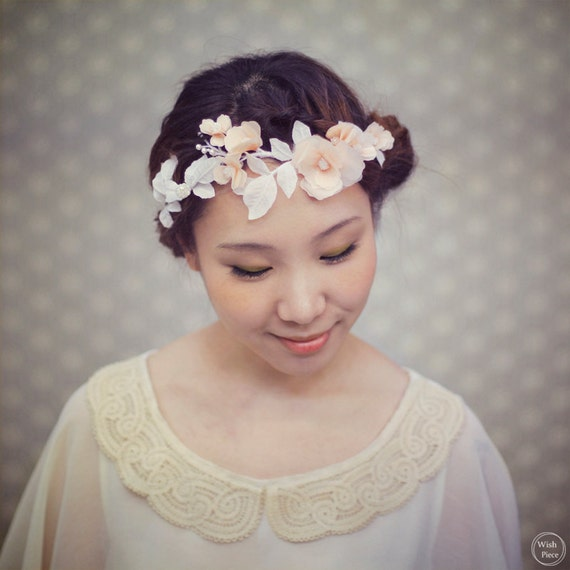 Items similar to Floral Crown - Peach Flower Crown - Wedding Headpiece -  Bridal Hair Accessories - Flower Headband - Style HP1310 on Etsy db2d026130d