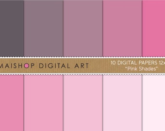 Solid Color Digital Paper 'Pink Shades' Printable Scrapbook Papers for Digital Scrapbooking, Paper Crafting, Edible Papers, Backgrounds...