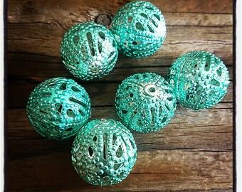 set of 6 blue 18 mm filigree metal beads
