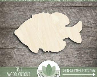 Wood Fish Shape, Unfinished Wood Fish Laser Cut Shape, DIY Craft Supply, Many Size Options, Blank Wood Shapes