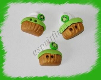 """""""Kiwi cupcake"""" button """"Fimo"""
