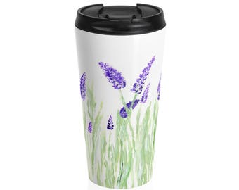 Lavender Travel Mug, stainless steel mug, floral travel mug, flower travel mug, lavender art, lavender painting