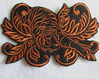 Embroidered Damask Tiger Iron On Patch, Tiger Patch, Tiger Iron On Patch, Tiger Applique, Iron On Applique, Tiger, Tigers