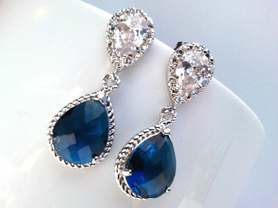 Sapphire Navy Earrings Blue Wedding Earrings Navy post