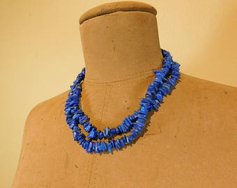 Vintage blue lapis chip necklace