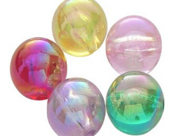 25g 6mm Acrylic Round Beads - AB Colours Mixed - A5297