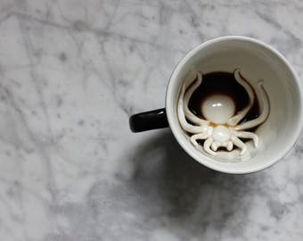 Spider Mug by CREATURE CUPS | Hidden Animal Inside | Handmade Black Ceramic Mug | Holiday and Birthday Gift for Coffee & Tea Lovers