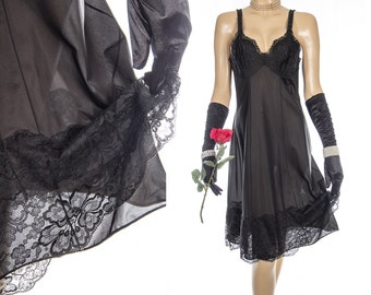 Seductive 'Palmers' sheer silky soft classic black nylon and delicate sexy ornate lace detail 1960's vintage full slip petticoat - 4281