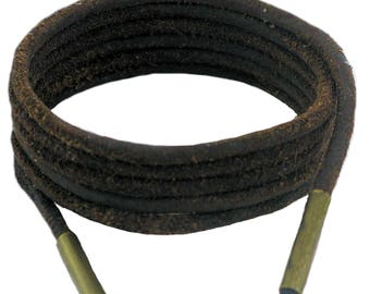 Shoe and Boot Laces Dark Brown 3 mm Round Leather
