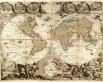 Antique world map etsy antique world map gumiabroncs Images