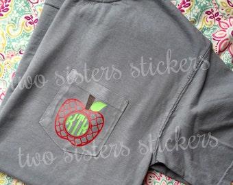 SHORT SLEEVE Teacher Monogram Comfort Colors Pocket Tshirt