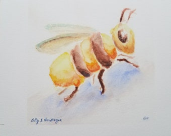 "Giclee Fine Art Print: Honey Bee, Hand-Painted Details 4x4"""
