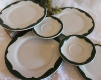 Collection of Wellsville China Restaurant Ware Plates - Green and White Holiday on Cosmopolitan