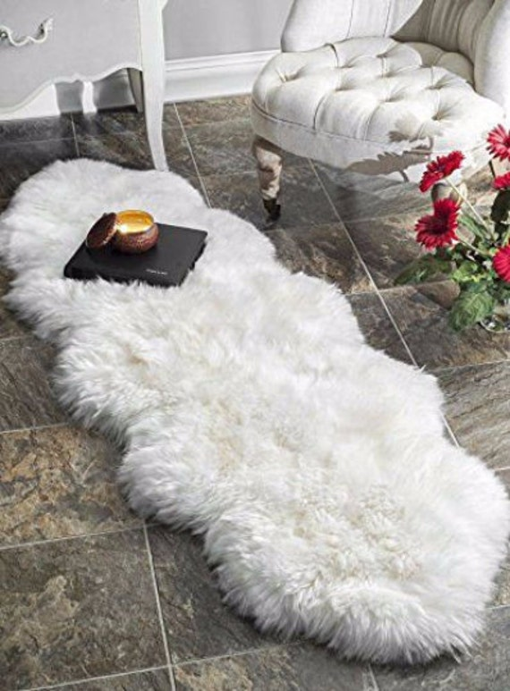 Double Sheepskin Carpet Rug. Premium Quality! About 190cmx80cm! 7 Colors! Lambskin - Soft and Luxurious Long Hair.