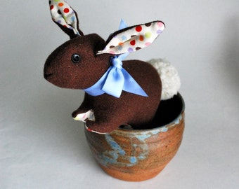 Mr Cotton Tail Plushie- Brown Wool Bunny - Plush Easter Bunny - Classic Toy - Stuffed Animal - Easter Basket Toy - Chocolate - Small