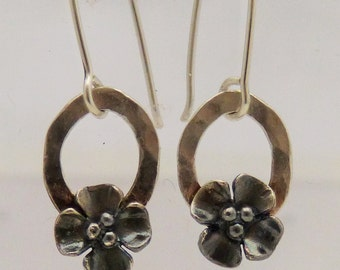 Silver oxidised Buttercup dangly earrings on small hoop